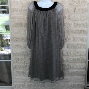 Alvin Valley gauzy silk dress grey black dot 2/34